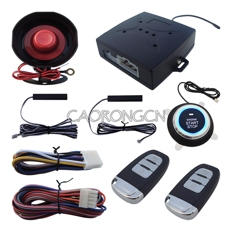 Stock In USA! PKE Car Alarm System Passive Keyless Entry With Push Button Start & Remote Control Start Engine Alarm(China (Mainland))