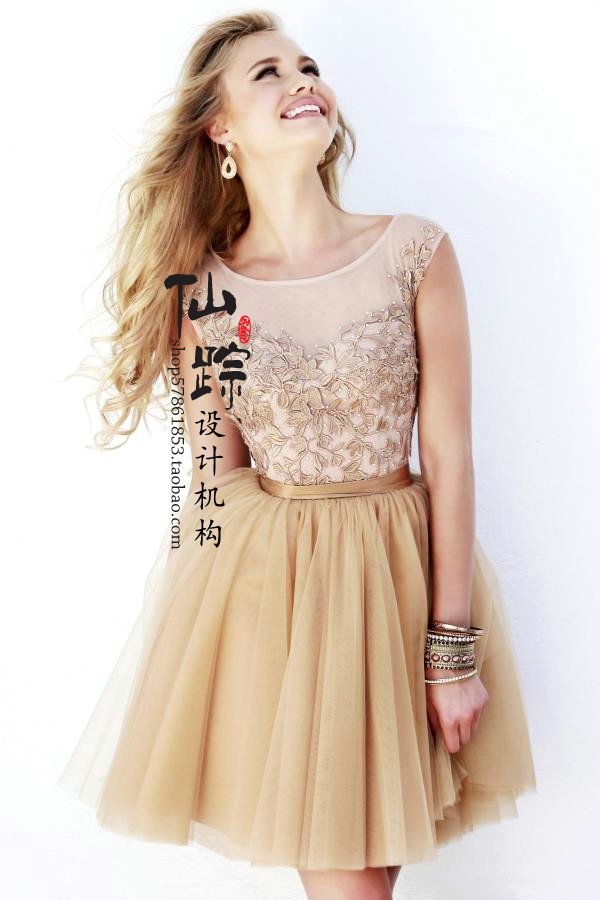 2014 new lace short gowns, bridesmaid dress word shoulder birthday dinner major suit - Earl -end custom clothing wedding store