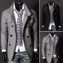 Fashion Spring Autumn Man Trench Coat Slim Double-Breasted Woolen Coat Brand Outerwear Men Casual Jacket Asian/Size M-3XL(China (Mainland))