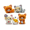 5PCS Anime Cute Miniature Fairy Garden Ornament rirakkusu Bear Office Home Decoration Cute Cartoon Figure Keychian