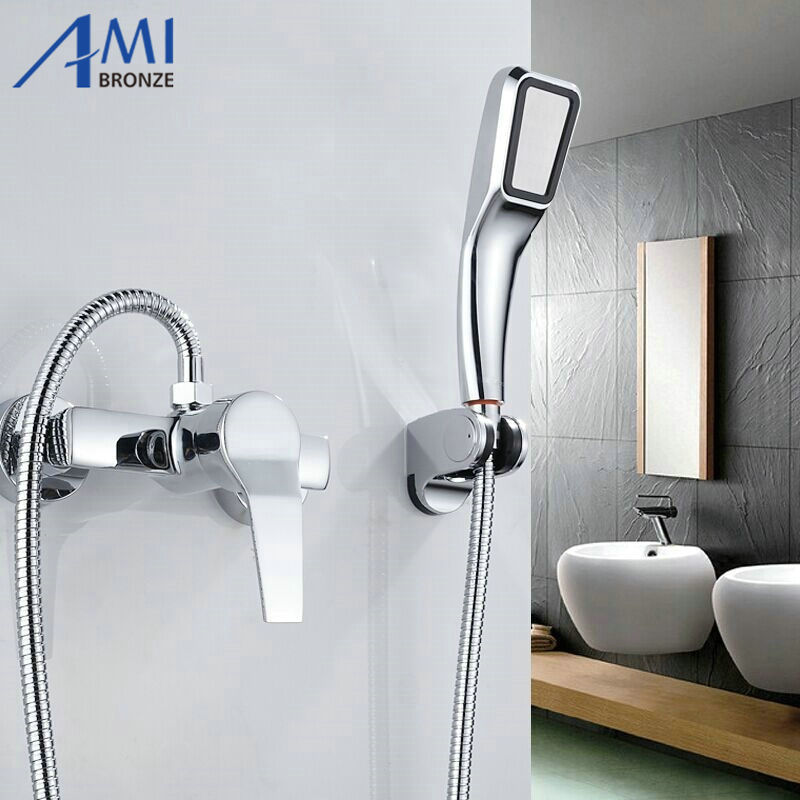 Simple set Bathroom Shower Faucets Bathtub Faucet Mixer Tap With Hand Shower Head Shower Faucet Sets(China (Mainland))