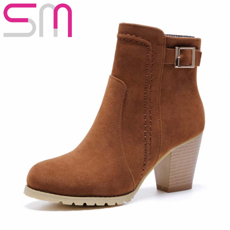 Big Size 32-43 Women Boots Buckle Strap Ankle Boots Thick High Heels Less Platform Shoes Woman Spring Winter Boots Women's Shoes