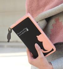 New Fashion cartoon cat wallet brand designed long and short women wallet zipper female purse card holder Carteira(China (Mainland))