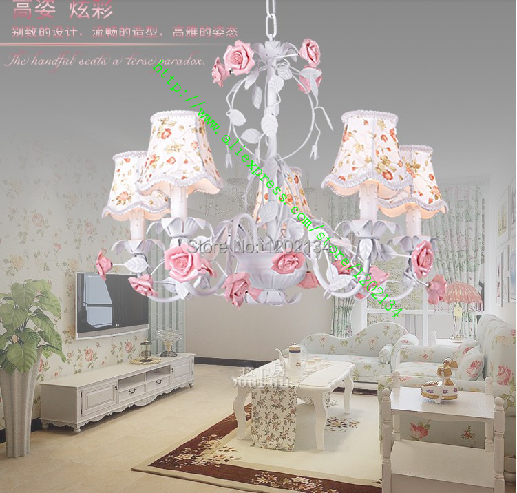 5 arms rose chandeliers fabric l shade nature