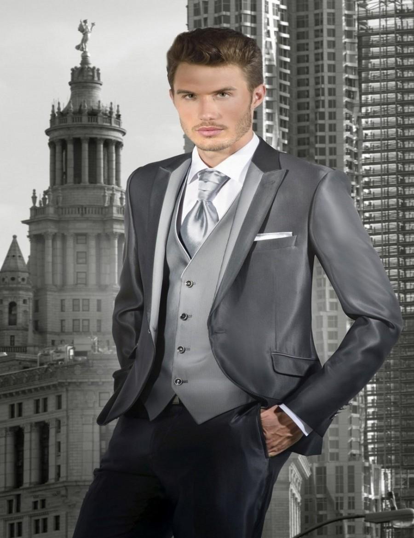 New Arrival Groom Tuxedos Shiny Grey Groomsmen Peak Lapel Wedding/Dinner Suits Best Man Bridegroom (Jacket+Pants+Tie+Vest) B592