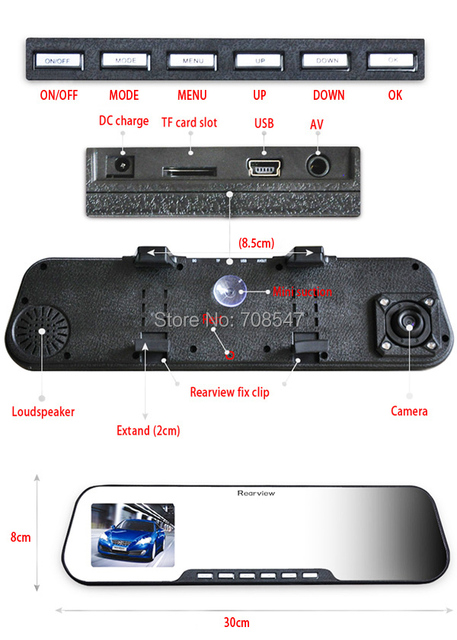 Wholesale  2.7inch LCD screen HD-Car  Rearview Mirror 1080P DVR Video Camera  H.264  Rechargable Lithium Battery  DHL