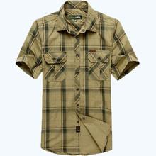 AFS JEEP Men Shirt Brand Summer Dress Men's Short Sleeve Shirt Plaid Style Plus Size Casual Male Clothing MAPP04313