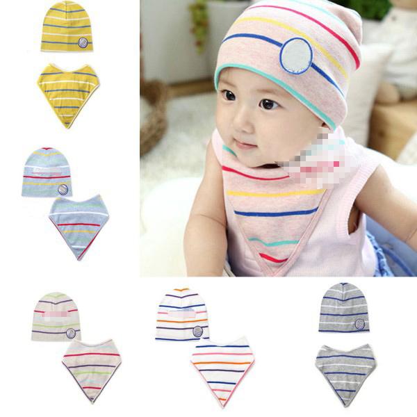 Infant Baby Stripe Soft Knit Cotton Hat Cap+Triangle Bib Saliva Towel 2Pc Outfit<br><br>Aliexpress