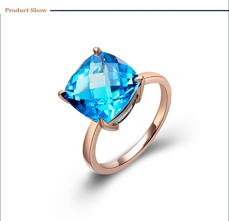 14K Rose Gold Natural Topaz Ring K Gold Colored Natural GEM Ring Women Swiss Sapphire Blue Stone Wedding Anniversary Ring<br><br>Aliexpress