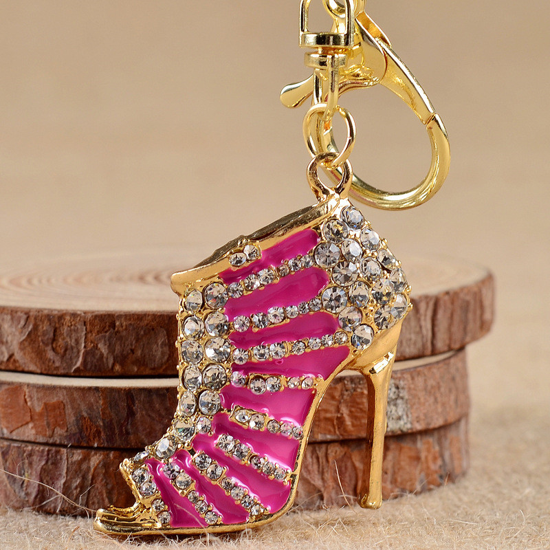 Women Crystal Travel Accessories Bag pendents High Heeled Rhinestone Purse Shoe Ring Holder For Women Gifts FB0066(China (Mainland))