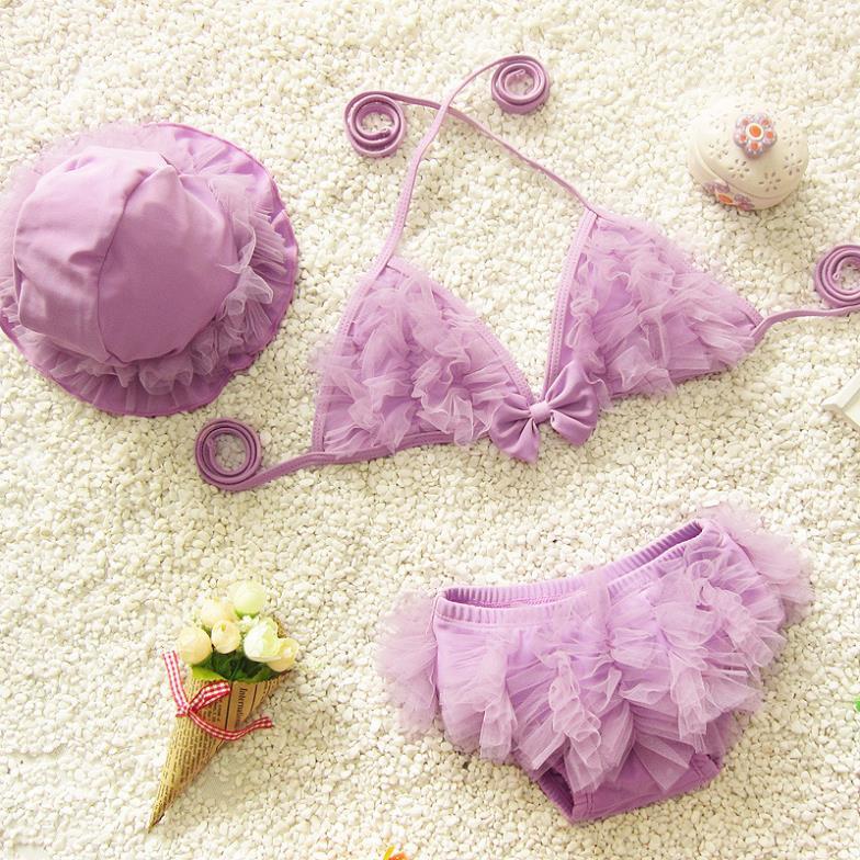 Lace Deco Cute Girls Bikini Sets Swimwears Kids Swimsuits Cap Children Bathing Suits a123DTCO - Sunny1978 Store store