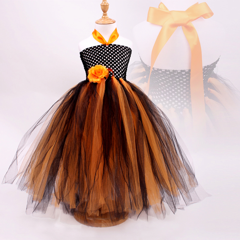 Halloween Baby Girls Party Dress Princess Sling Bebe Pumpkin Flower Length Pettiskirt Kids Wedding Dresses Bohemia Style Clothes(China (Mainland))