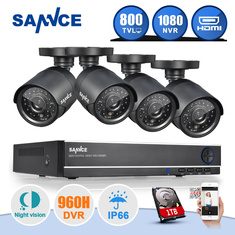 SANNCE 8CH 1080P HDMI DVR NVR HVR CCTV System 800TVL IR Weatherproof Outdoor 4 Cameras Home Security Surveillance Kits 1TB HDD(China (Mainland))