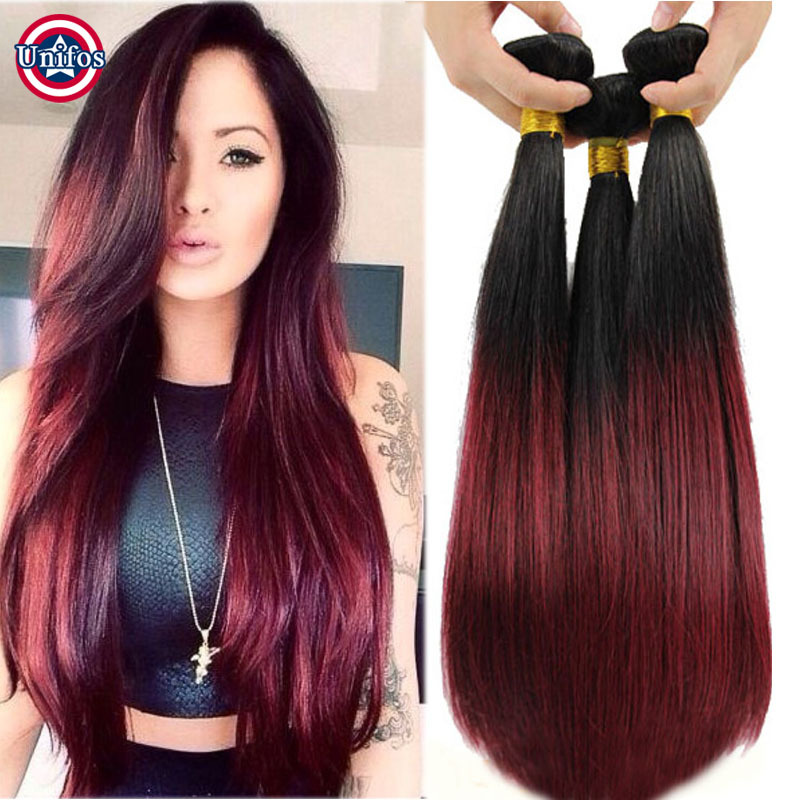 ... Burgundy Ombre Hair Extensions Straight Ombre Virgin Hair