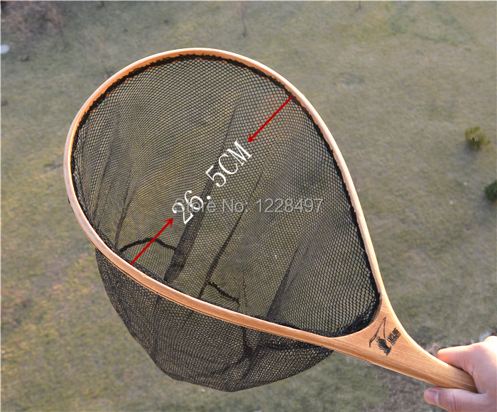 Fly fishing dip net fishing net with wooden handle landing for Dip nets for fishing