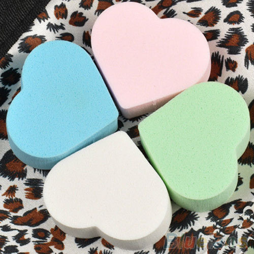 4x Makeup Sponge Blender Powder Smooth Heart Shape Puff Flawless Beauty Foundation 1PTC(China (Mainland))