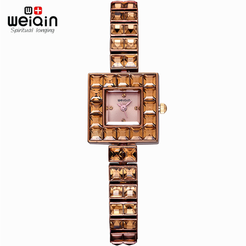 WEIQIN Fashion Rose Gold Crystal Rhinestone Square Dial Women Watches Waterproof Shock Resistant Quartz Lady Simple Dress Watch<br><br>Aliexpress