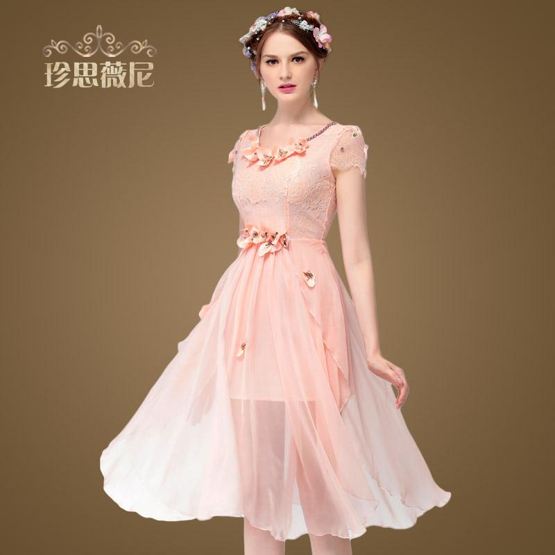 Zswn/ Zhen Si Wei, Three-dimensional Flower Diamond Neck Long Short Sleeved Lace Dress Female Irregular Skirt