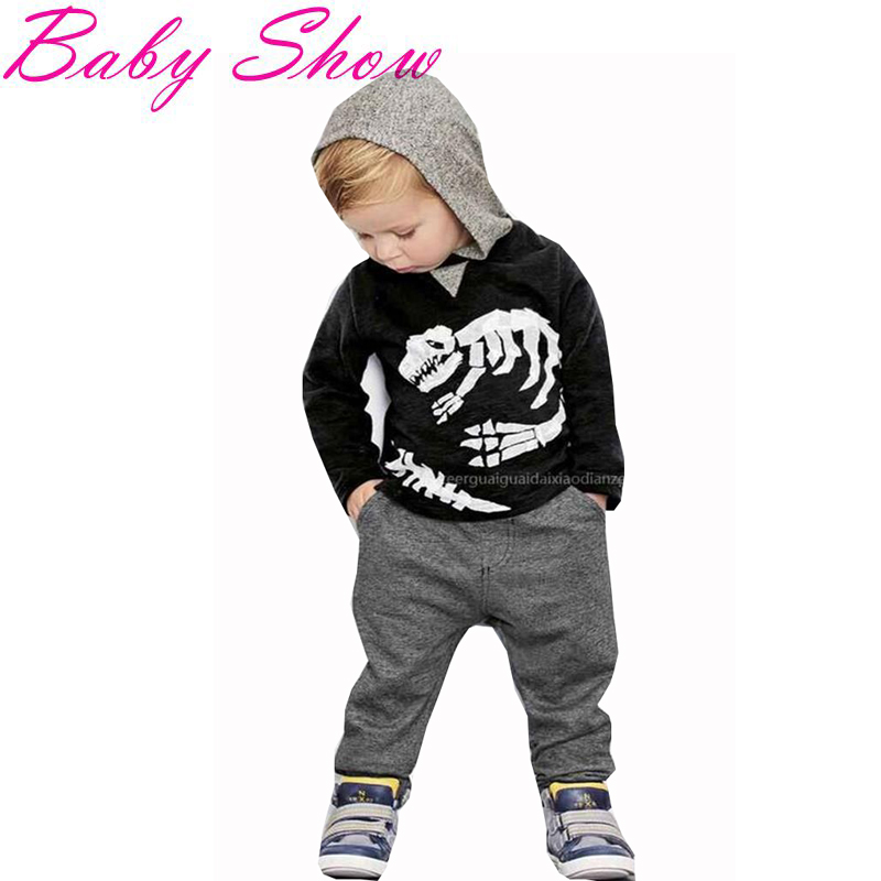 Spring&Autumn Boys Clothing Fashion Dinosaur Skeleton Design Toddler Boys Clothing Leisure Hoodies+Harem Pants Kids Tracksuit T2(China (Mainland))