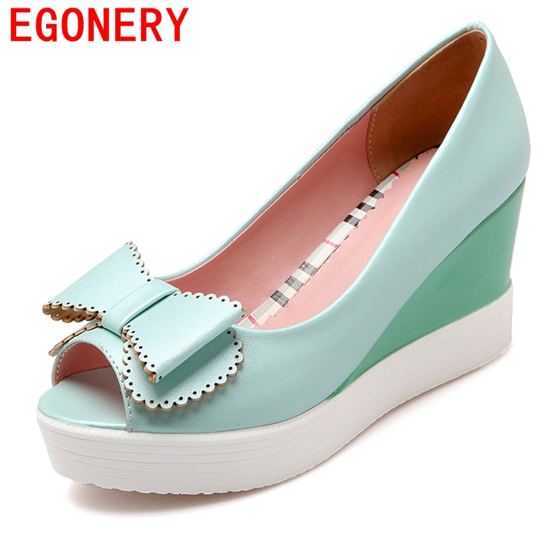 blue white pink spring autumn high heels pumps 2016 classical peep toe wedges party shoes slip-on platform for women shoes<br><br>Aliexpress