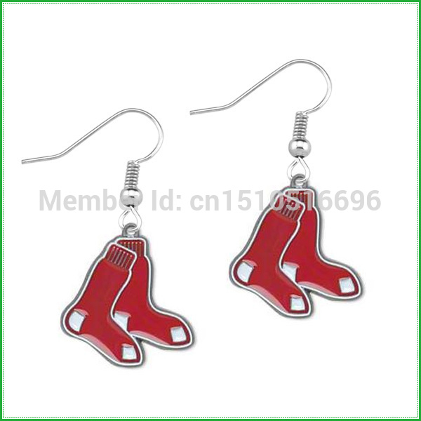 free shipping 50pair a lot rhodium plated Boston Red Sox sports drop earrings(China (Mainland))