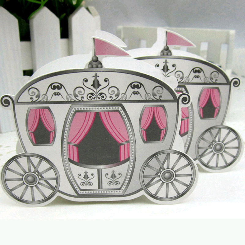 "Free Shipping 50pcs ""Enchanted Carriage"" Fairytale Themed Favor Box/Wedding Boxes Cinderella Pumpkin Carriage Candy Boxes(China (Mainland))"