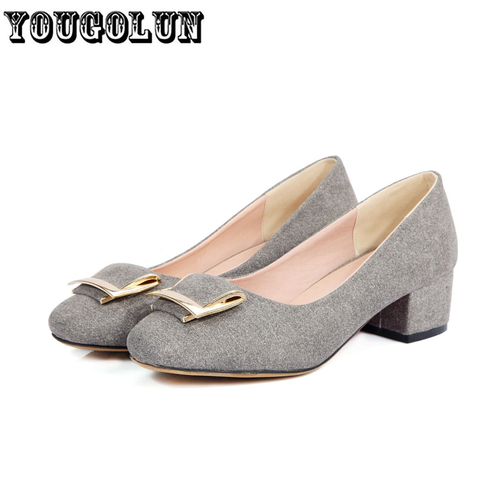 2016 Fashion black gray beige red Women nubuck mid heels Pumps ladies summer woman shoes womens square toe casual party shoes