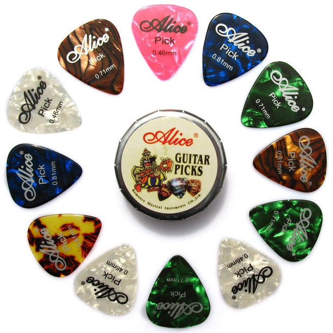 Good deal Alice Tin Celluloid Guitar Picks, 12 colorful plectrum in one cute round metal box, acoustic electric guitar strum(China (Mainland))