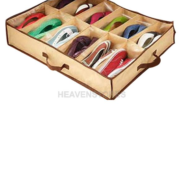 12 Pairs Fabric Intake Organizer Holder Shoes Box hv3n(China (Mainland))