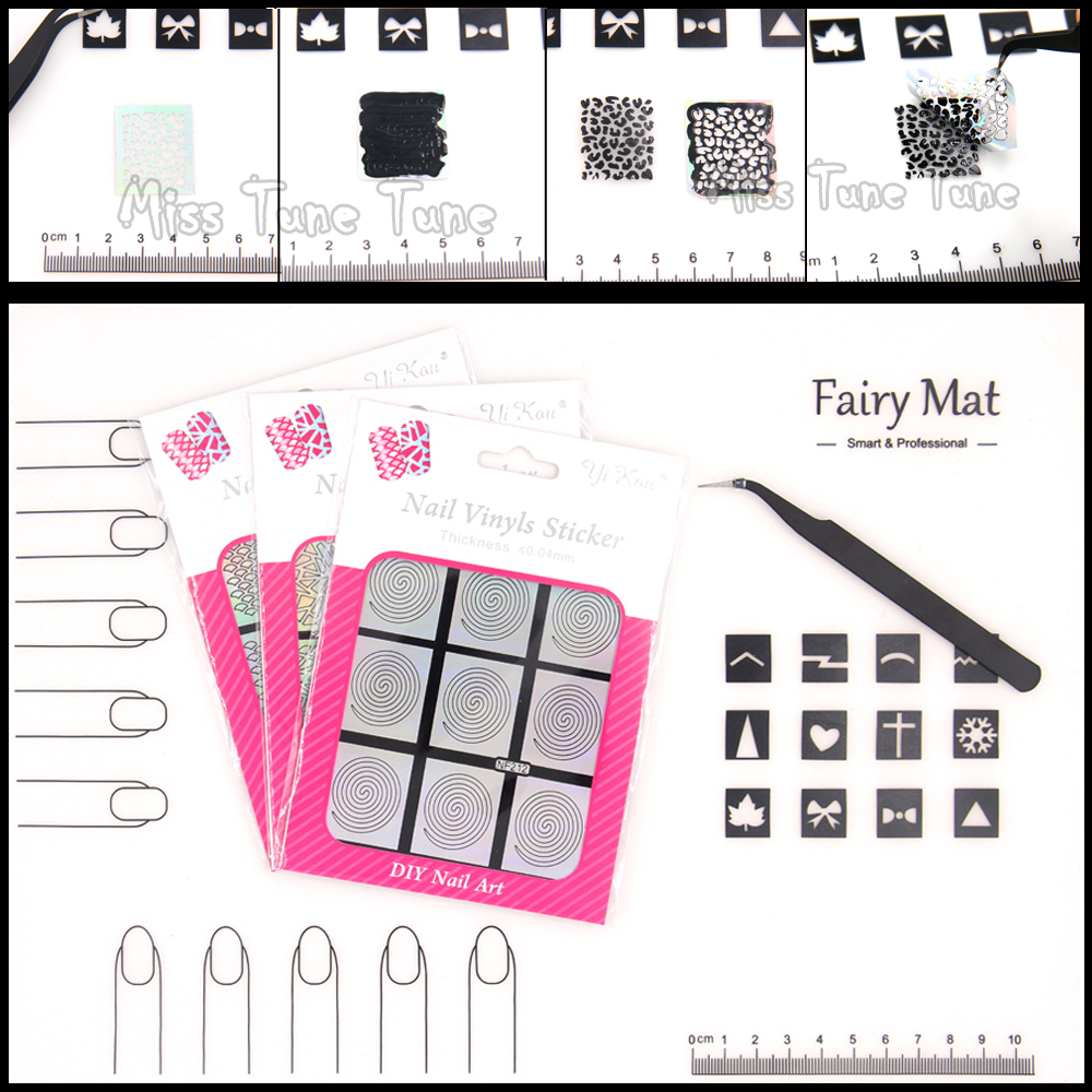 Nail Art Soft Silicon Fairy Mat Work Shop Protector Pad Set Nail Stencils Tips Decal Tweezer Image Polish Transfer(China (Mainland))