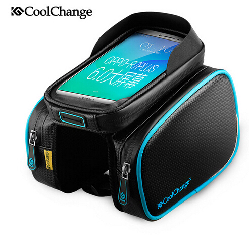 Coolchange Bike Bicycle Ride Frame Front Head TopTube Bag Double Cycling Pannier For 6.0 /6.2 in Cell Phone Smartphone Case(China (Mainland))
