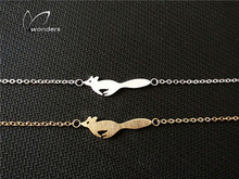 2015 Gold/Silver Forest Animal Fox Charm Stainless Steel Chain Bracelets for Women