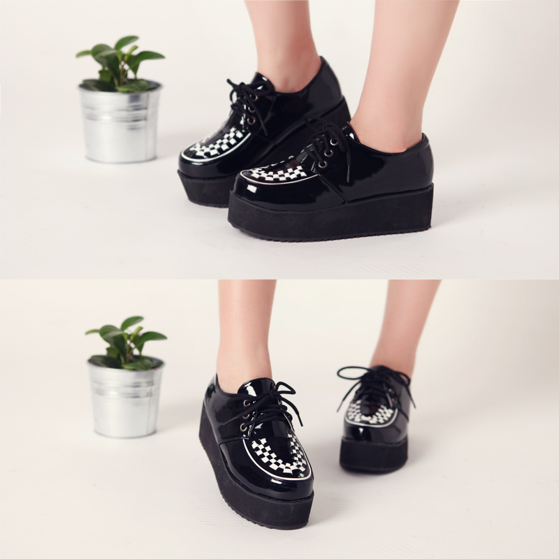 Japanned leather patent black white foam platform wedges round toe strap martin low single shoes plus size - Classic Women's boots store