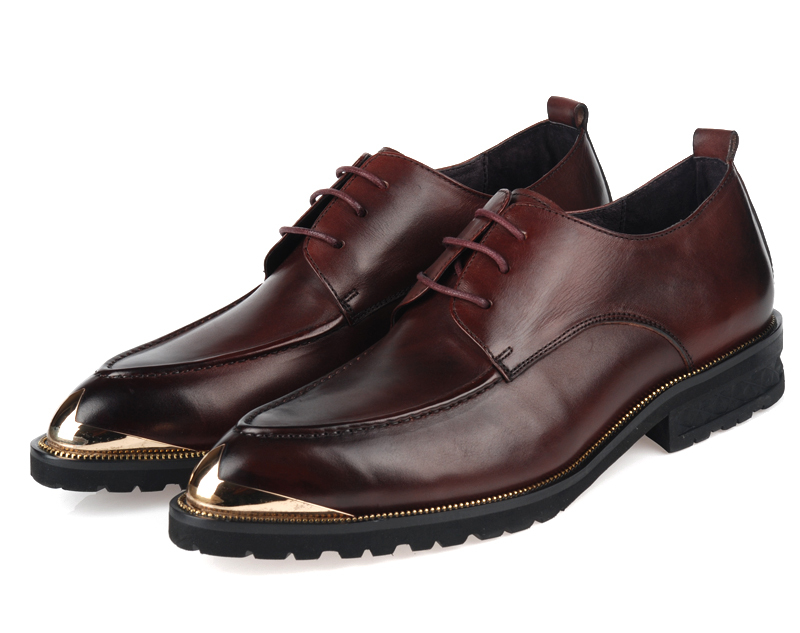 Steel head Brown tan / Black mens wedding shoes fashion mens business shoes genuine leather mens dress shoes mens oxfords shoes(China (Mainland))
