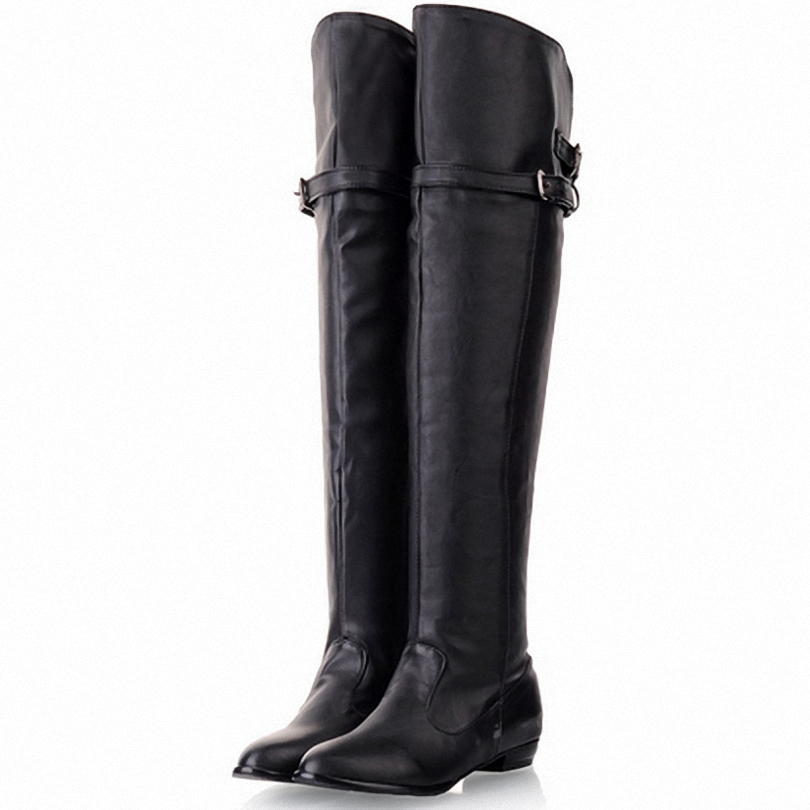 Shoes Women New Over The Knee High Boots Women Motorcycle Boots Flats Long Boots Low Heel PU Leather Shoes Big Size 34-43(China (Mainland))