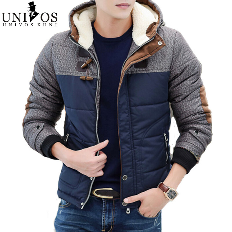 Hooded Winter Jacket Men Patchwork Contract Color Warm Coat Thick Male Jackets and Coats  Men's 2015 Brand Jacket Parka Z2150