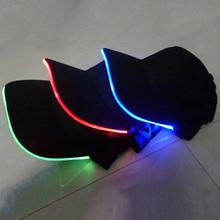 Hot Fashion Black Cotton Fabric LED Lighted Glow Club Party Hats Sports Athletic Travel Baseball Cap #74233(China (Mainland))