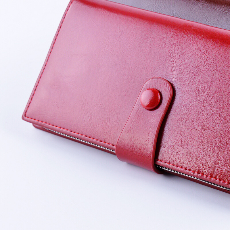 YOUYOU MOUSE Vintage Women Oil Leather Wallets Two Fold Ms. Long Coin Purse Fashion Zipper Lady Clutch Money Bag Card Holder
