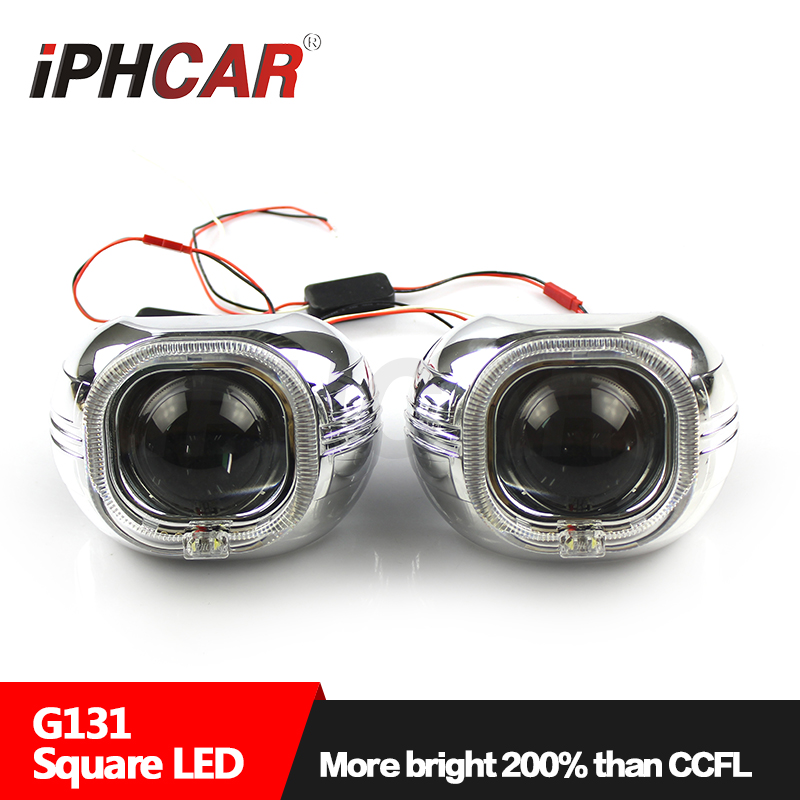 Free IPHCAR Car Styling Headlight Bi Xenon Projector Lens Square LED Projector Cover Shroud Hella Q5 Projector lens