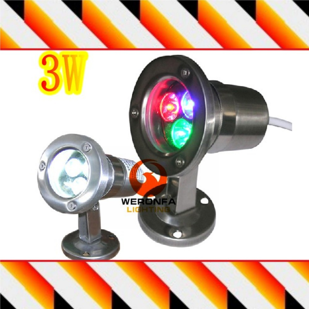3W 12v/220v underwater RGB Led Light Waterproof IP68 fountain pool Lamp stainless steel Outdoor Landscape garden decoration lamp(Hong Kong)