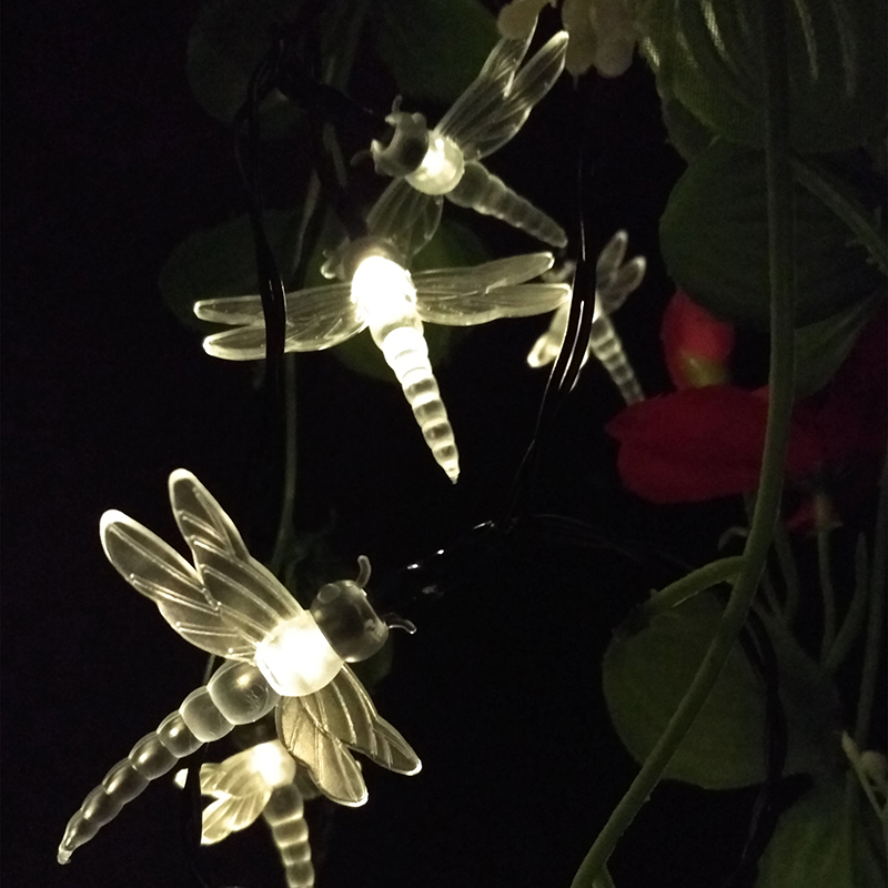 Dragonfly LED Solar Lamps Energy Saving Fairy String Lights Outdoor Animal Festival Party Garden Decorative Lights 4.8m 20leds(China (Mainland))