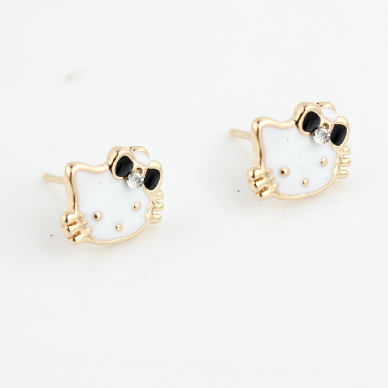 2016 fashion cute hello kitty bow crystal flower stud