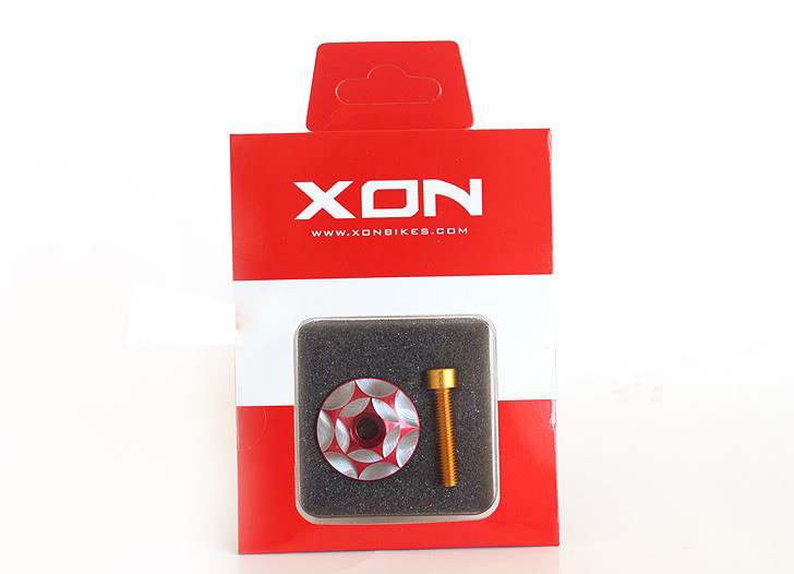 XON CNC Bike Headset Cap 6061 Alloy T6 31.8mm Red Screw Bolt 7075 Alloy M6 x 30mm Golden(China (Mainland))