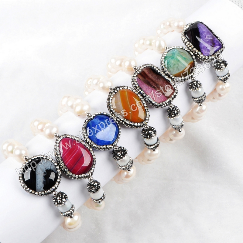 Cylinder Natural Pearl and Geometry Rainbow Onyx Agate Druzy Beads Paved Zircon with Imitation White Pearl Beaded Bracelet 175<br><br>Aliexpress