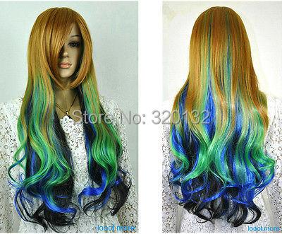 Colorful Multi-Color Long Wavy Fancy Dress Party Girl women Wig brazilian costum 100% Kanekalon Hair wigs peruvian queen body(China (Mainland))