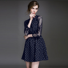 2016 Women Summer Club Casual Vintage Elegant Navy Sexy Dress Ladies Lace Crochet Lace Collar Evening Office Lady Belt Dresses