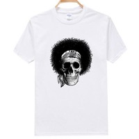 Free Shipping Z021 O-Neck Tee Shirt 100%Cotton Fashion Short-Sleeve 3d t shirt Skull Printed Men's