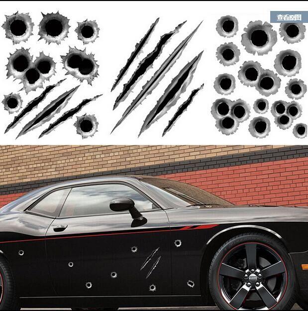 car-styling Simulation bullet hole car stickers For Toyota RAV4 Corolla Highlander LAND Venza Honda Accord FIT CITY CRV CIV(China (Mainland))