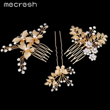 Mecresh 3pcs/set Gold Plated Butterfly with Leaves Bridal Combs Crystal Flower Wedding Hair Accessories Tiara TS022(China (Mainland))