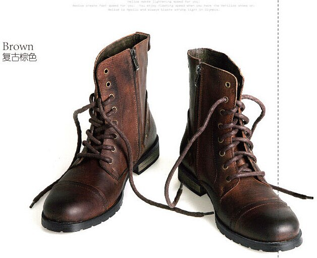 Winter big male boots genuine leather vintage fashion cotton martin high trend